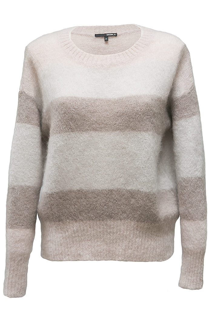 Grey angora striped jumper