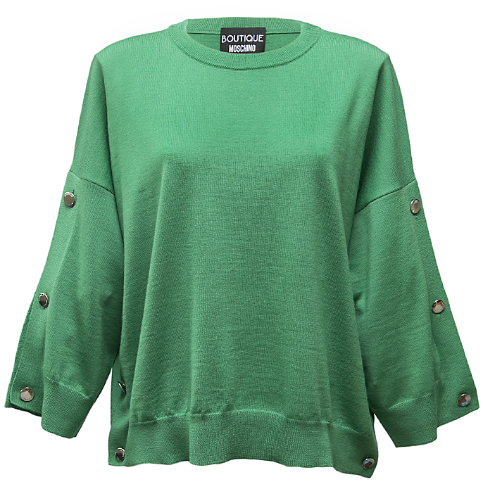 Green button sleeve jumper