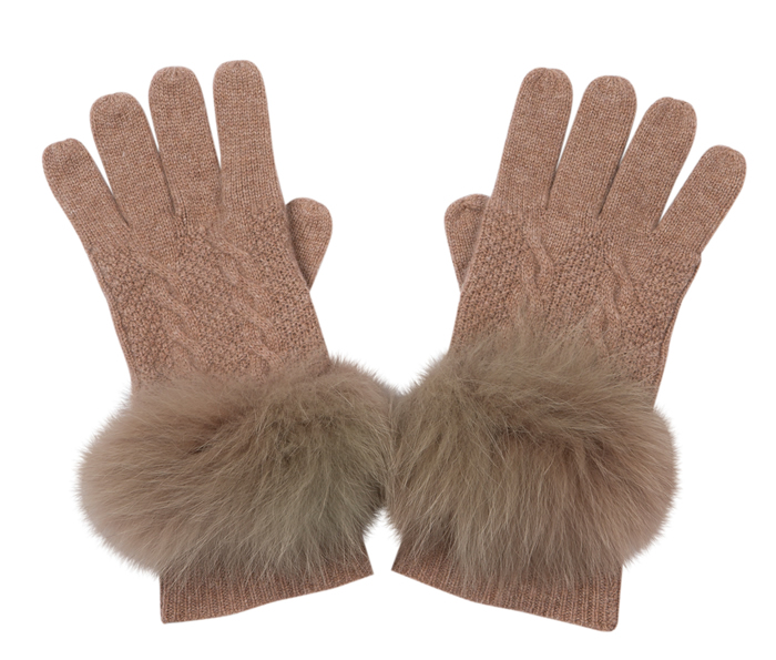 Austin brown fur gloves