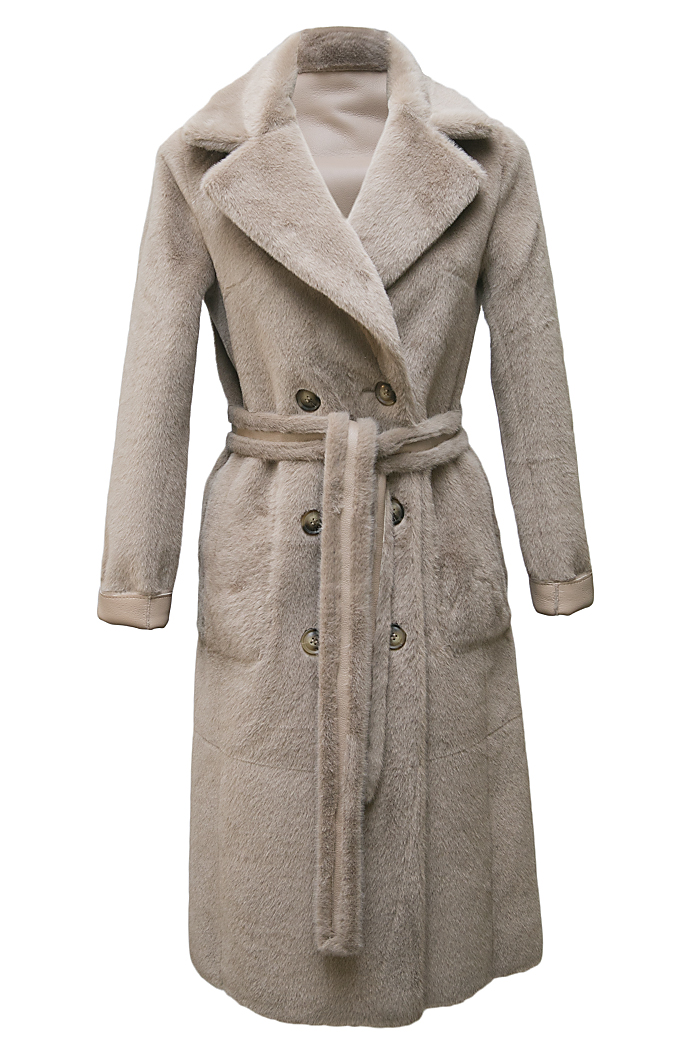 Taupe reversible faux shearling
