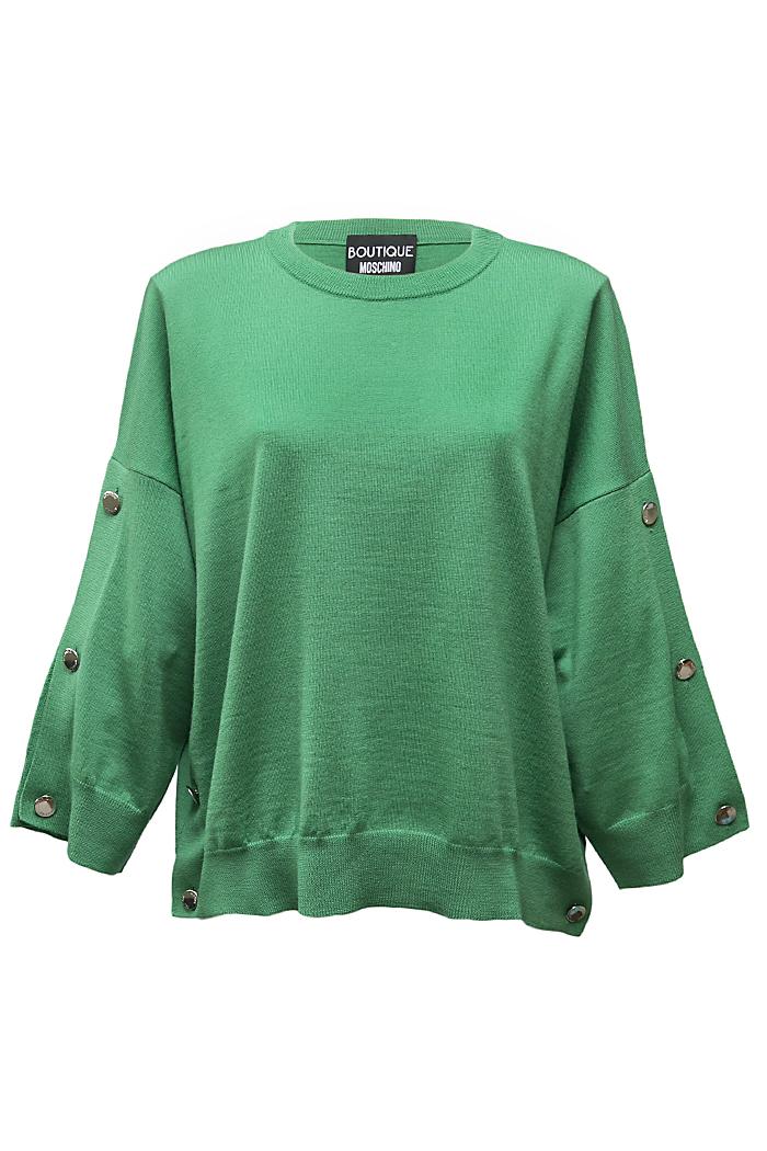 Green button sleeve jumper