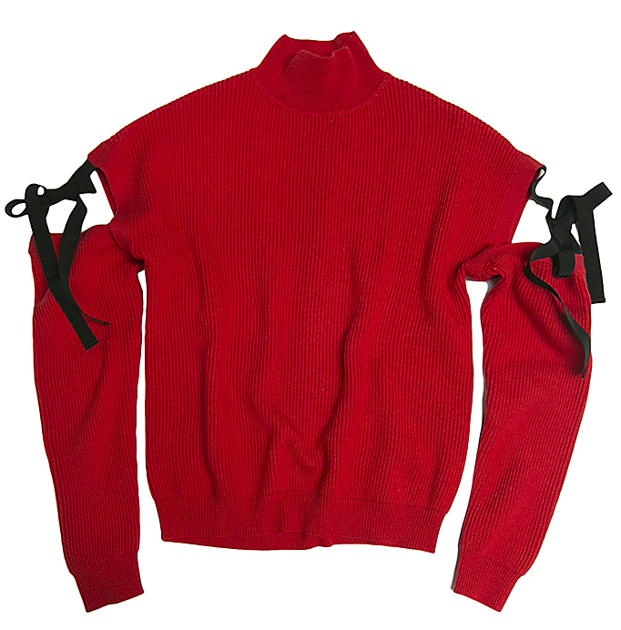 Red cut-out sleeve jumper