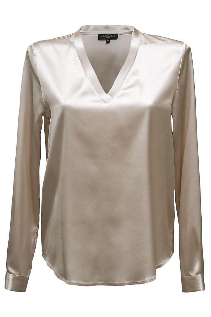 Beige satin V-neck