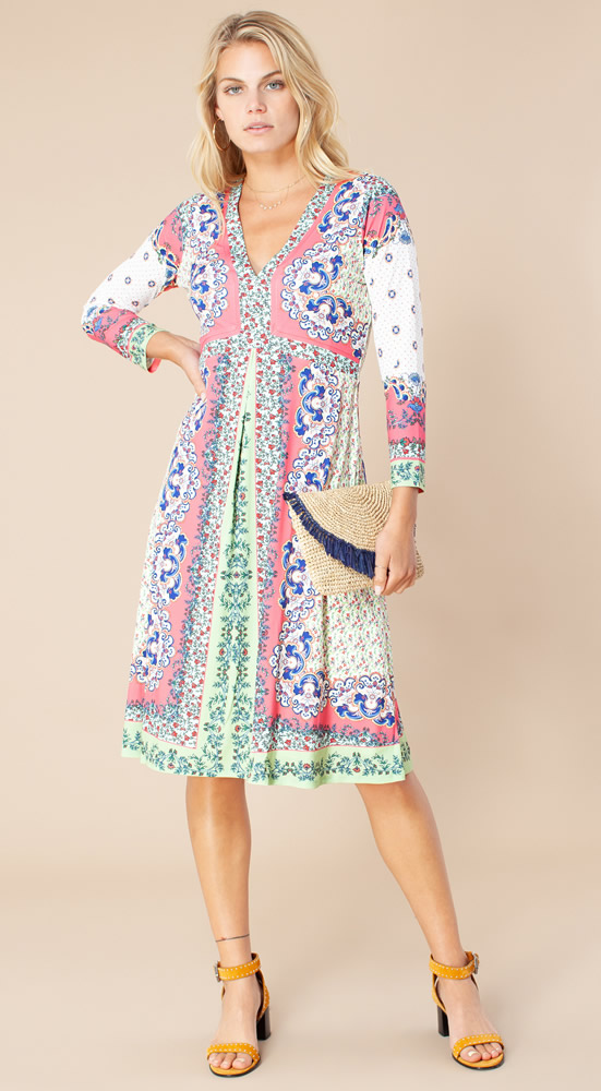 Joss coral patchwork dress