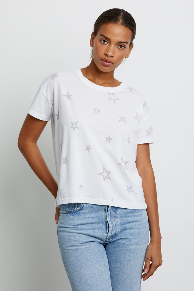 Burn-out star white T-shirt
