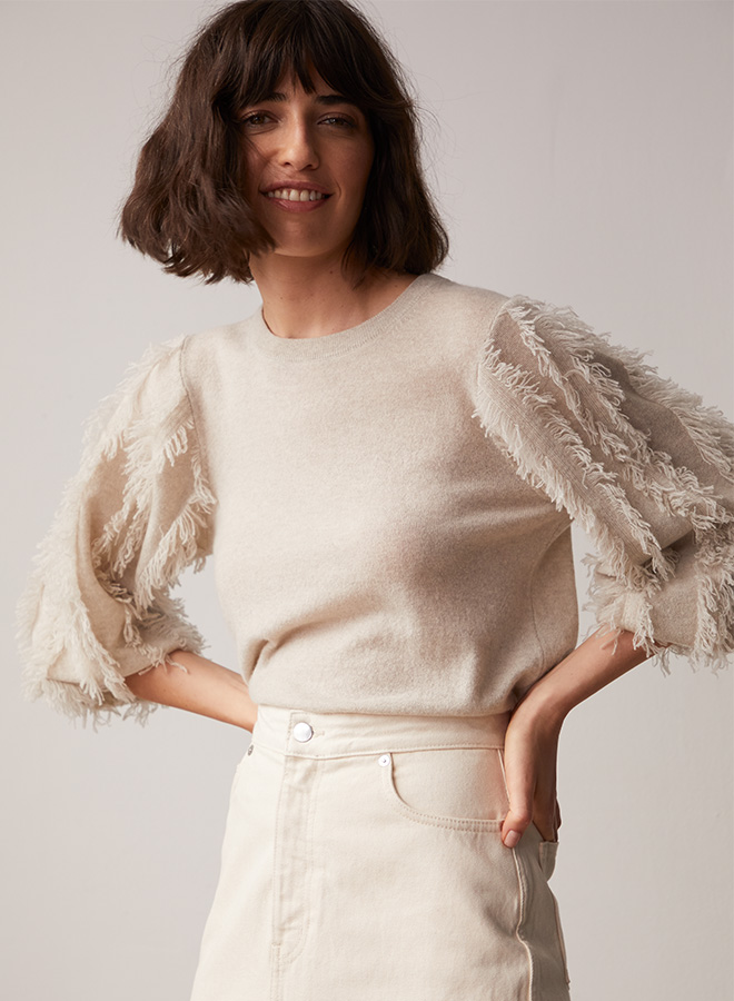 Fringed sleeve jumper