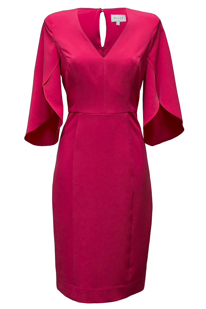 Pink fluted sleeve dress