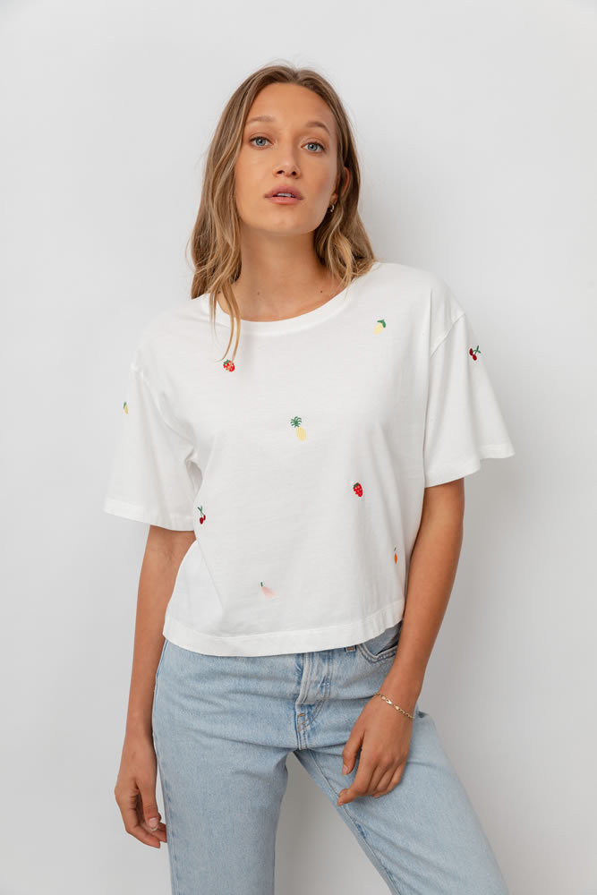 Embroidered fruit T-shirt