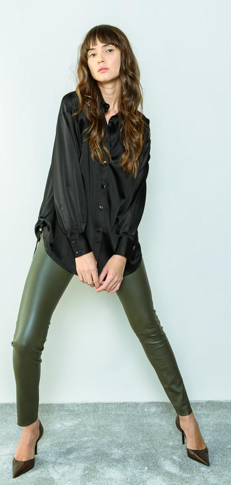 Khaki leather legging