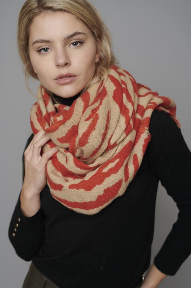 Godiva camel zebra scarf